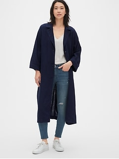 Longline Topper Jacket in Linen-Cotton