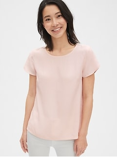 Button-Back Tulip Sleeve Top