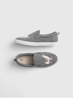 Kids Llama Slip-On Sneakers