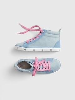 Kids Denim Hi-Top Sneakers
