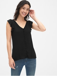Sleeveless Ruffle Button-Front Blouse