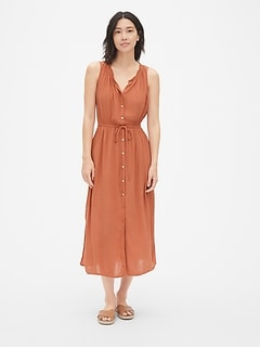 Crinkle Tie-Waist Maxi Shirtdress