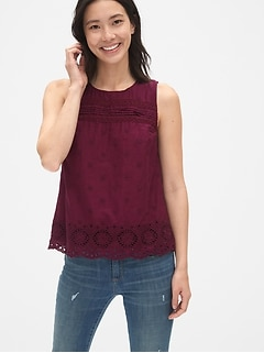 0c5116b28 Eyelet Embroidered Tank Top