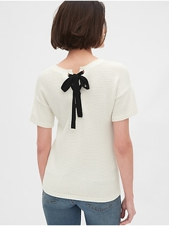 Lace-Up Short Sleeve Crewneck Sweater