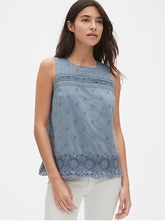 Eyelet Embroidered Tank Top in Chambray