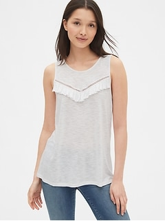Lace-Trim Ruffle Tank Top