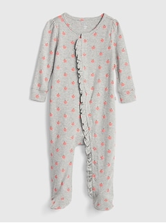 Baby Apple Ruffle-Trim Footed One-Piece