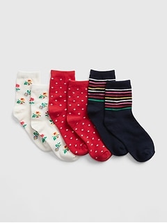 Kids Print Crew Socks (3-Pack)