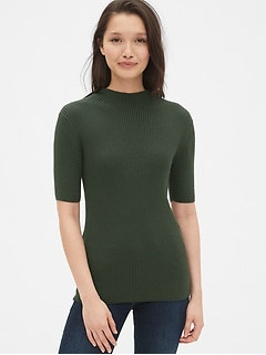Ribbed Short Sleeve Mockneck Sweater