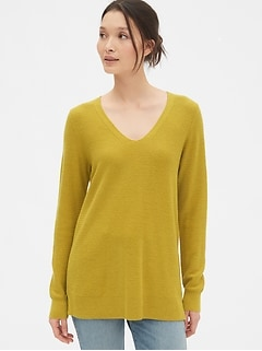 True Soft Textured V-Neck Tunic Sweater
