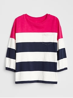 Kids Stripe Balloon-Sleeve Pocket T-Shirt