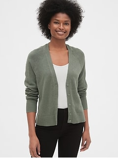 V-Neck Button-Front Cardigan Sweater