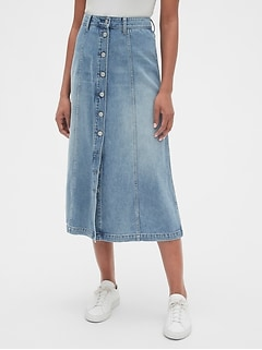 Button-Front Denim Midi Skirt