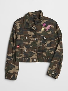 Kids Camo Icon Denim Crop Jacket