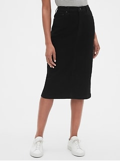 High Rise Denim Midi Pencil Skirt