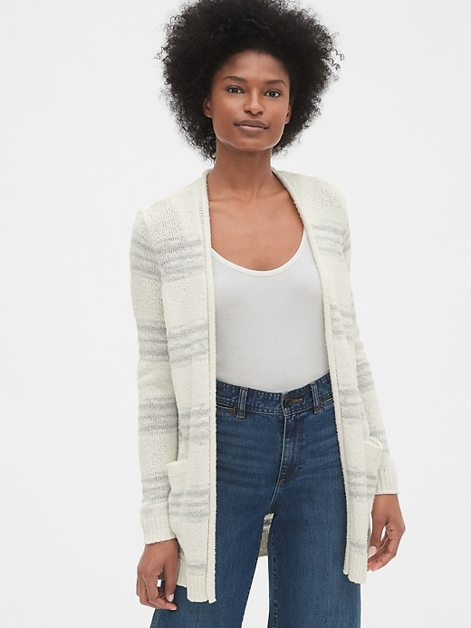 Longline Stripe Open Front Cardigan Sweater by Gap