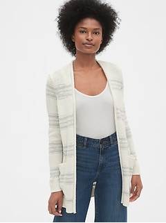 Longline Stripe Open-Front Cardigan Sweater