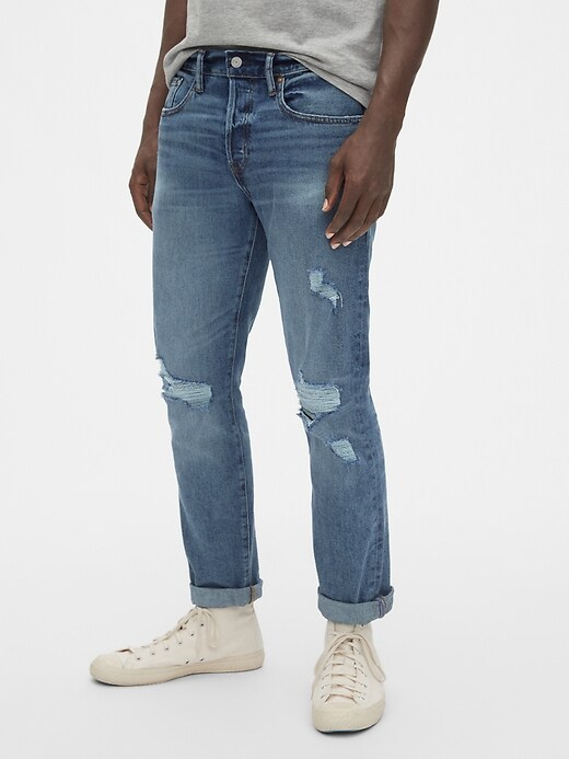 Distressed Skinny High Roller Jeans with GapFlex