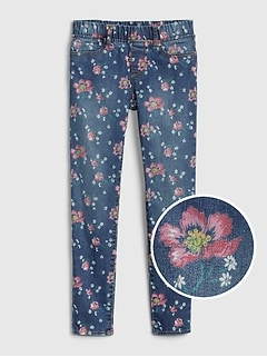 Kids Floral Ankle Jeggings with Fantastiflex