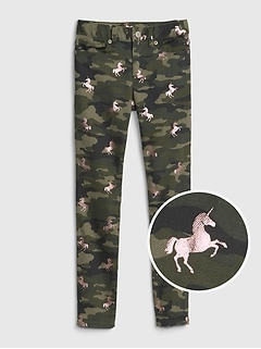 Kids Camo Unicorn Super Skinny Jeans with Fantastiflex