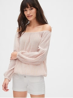 Crinkle Stripe Off-Shoulder Top