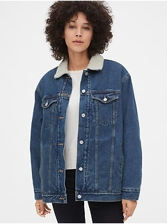 Sherpa-Lined Oversized Icon Denim Jacket