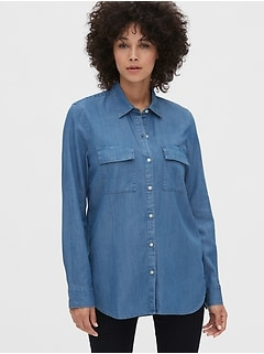 Utility Pocket Boyfriend Shirt in TENCEL™