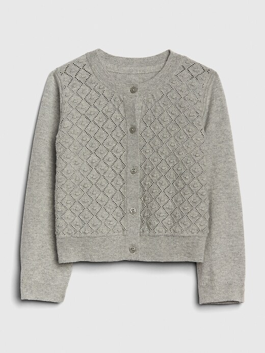 Toddler Crop Pointelle Cardigan Sweater