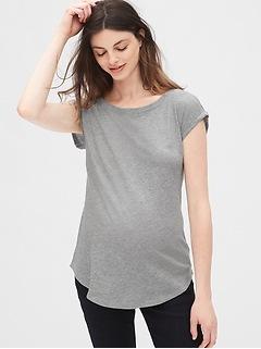Maternity Slub Roll Sleeve T-Shirt