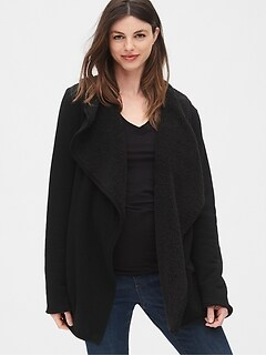 Maternity Reversible Sherpa-Lined Cardigan