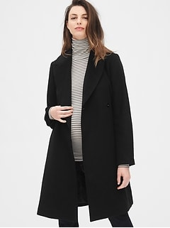 Maternity Wool-Blend Wrap Coat