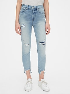 High Rise Distressed True Skinny Ankle Jeans with Secret Smoothing Pockets