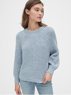 Blouson Sleeve Ribbed Mockneck Sweater