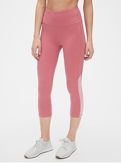 GapFit High Rise Mesh-Inset Capris in Eclipse