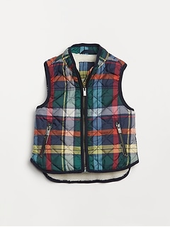 Toddler Plaid Sherpa-Lined Vest