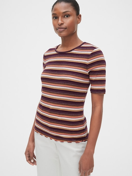 Featherweight Rib Stripe Elbow Sleeve T-Shirt