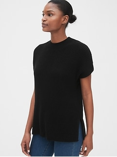 Cap Sleeve Mockneck Sweater