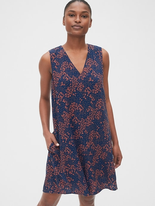 Print V Neck Shift Dress by Gap