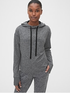 GapFit Open-Back Hoodie in Brushed Tech Jersey