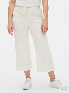 High Rise Stripe Wide-Leg Crop Jeans