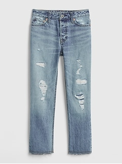 Kids High Rise Destructed Relaxed Straight Jeans