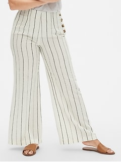 High Rise Wide-Leg Pants in Linen-Cotton