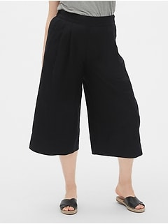 High Rise Wide-Leg Crop Pants in Linen-Cotton