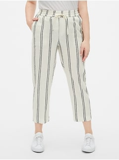 Stripe Drawstring Pants in Linen-Blend