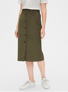 Corduroy Button-Front Midi Skirt