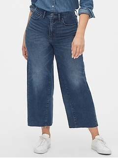 High Rise Wide-Leg Crop Jeans with Secret Smoothing Pockets