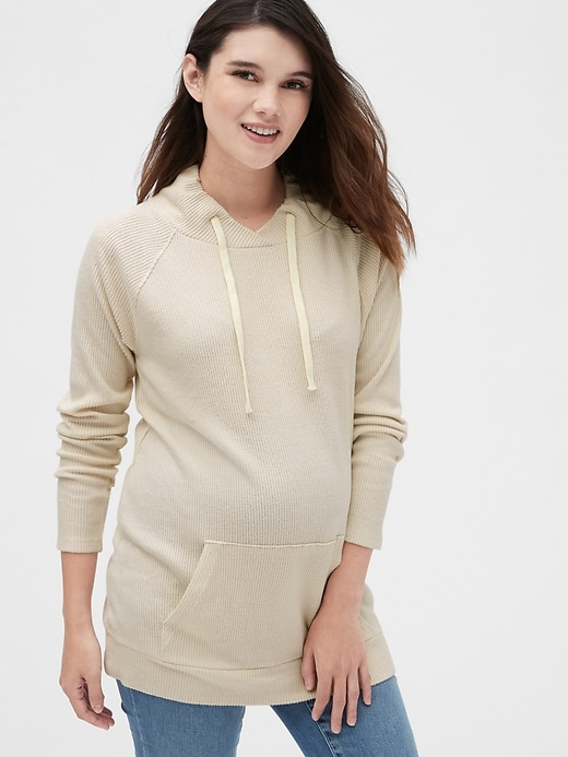 Maternity Softspun Ribbed Funnel-Neck Sweater Tunic