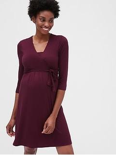 Maternity Three-Quarter Sleeve Wrap Dress