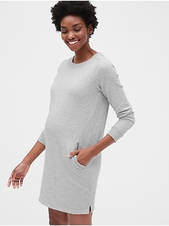 Maternity Three-Quarter Sleeve Sweatshirt Dress in French Terry