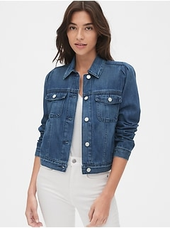 Crop Puff Sleeve Icon Denim Jacket